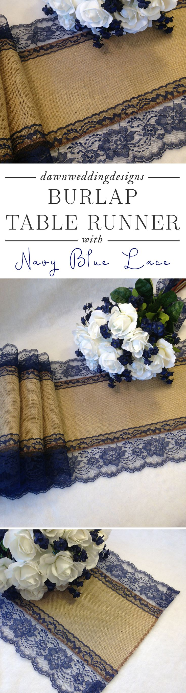 """Navy Blue Wedding Décor -   Burlap Table Runner - NAVY / DARK BLUE Lace Wedding Table Runner - 14"""" Width; Lace on Edges - Country Farmhouse, Rustic Barn Wedding"""