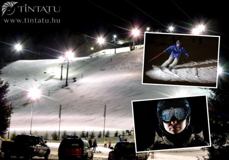 Síelés éjszaka a kivilágított pályán.  #TinTatu #Fotokonyv #Tel #Sieles #ExtremSport