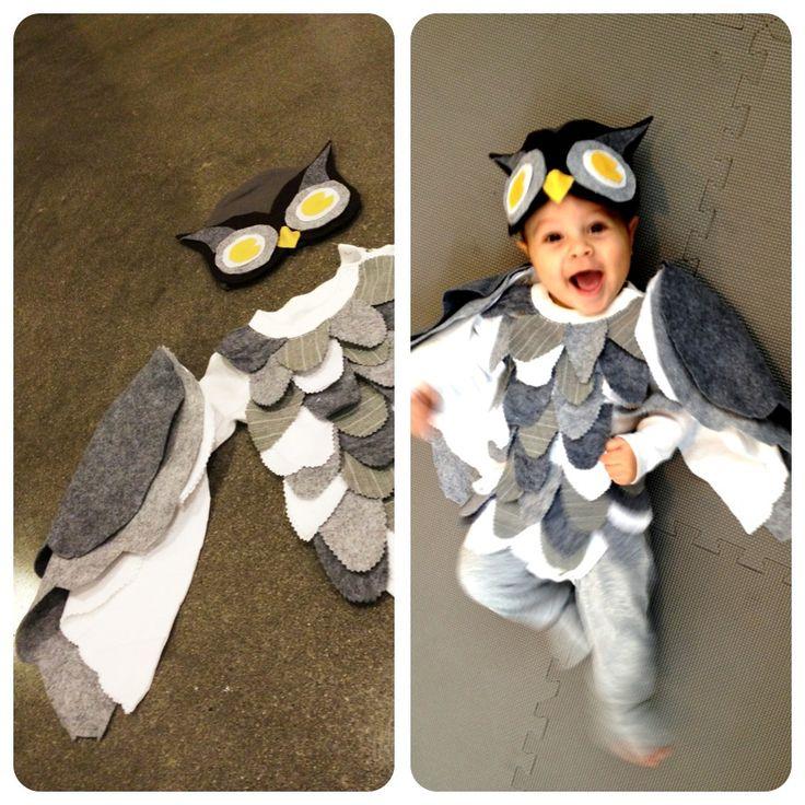Mom-made owl costume-  Scalloped feathers on long sleeved bodysuit, Felt wings, felt eyes glued to soft beanie cap, sweatpants.