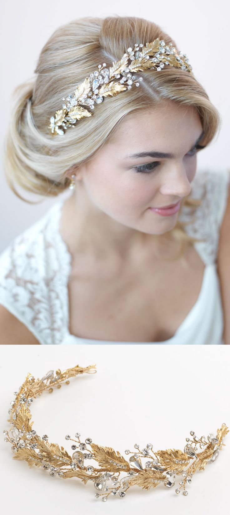 Gorgeous gold botanical wedding headband perfectly accents this timeless bridal updo <3