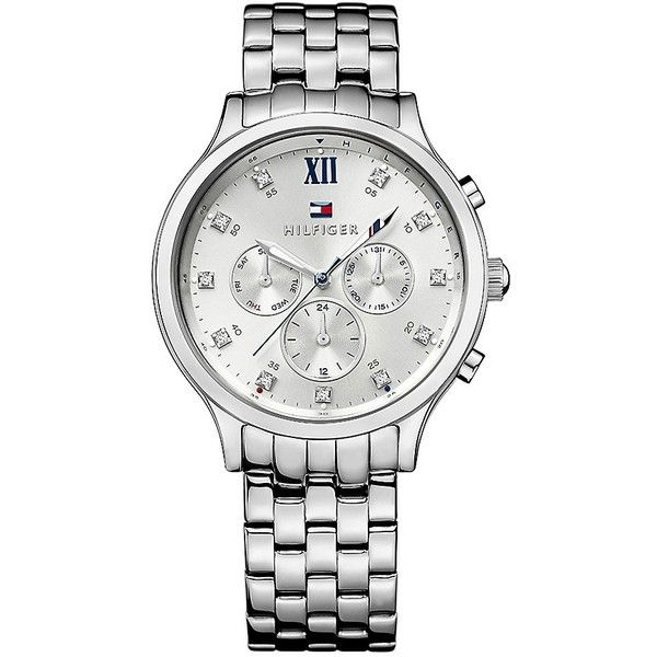 Tommy Hilfiger Silver Bracelet Watch found on Polyvore featuring jewelry, watches, tommy hilfiger, dress watches, bracelet watch, silver dress watches and water resistant watches