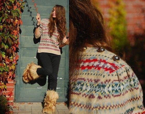 Edina Ronay Sweater, Mum's Old Hairy Boots, H&M Pants