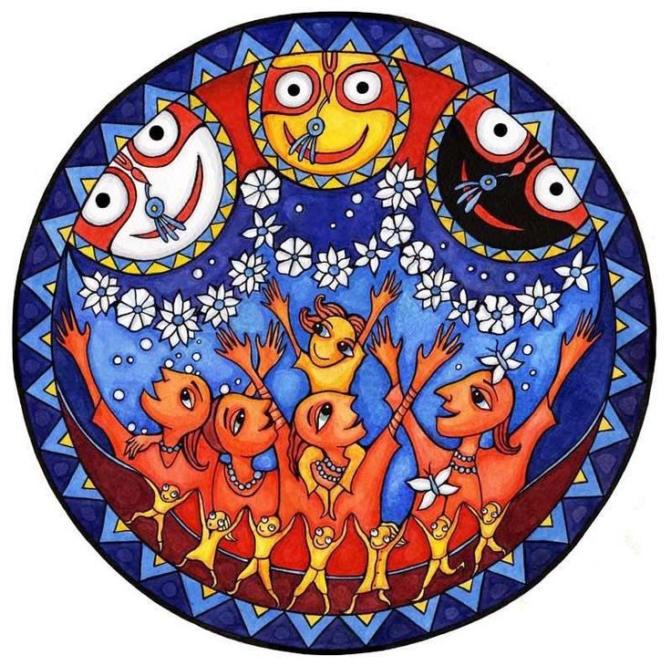 Jagannata, Subhadra, Baladeva e os devotos do senhor Krishna