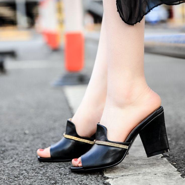 Donna sandali ciabatte suqare tacchi tacchi alti peep toe sexy delle donne calza il trasporto libero 2015 nuovo arrivo progettato(China (Mainland))