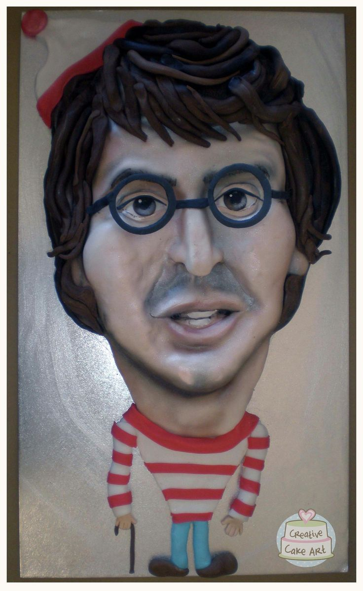 Creative cake art cake sculpture portrait caricature  where's wally cake