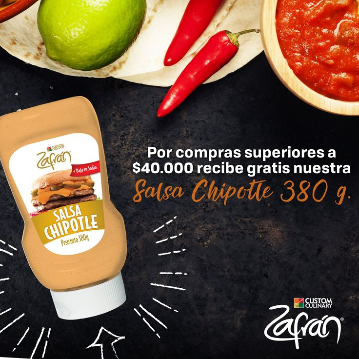 Por compras superiores a $40.000 en la tienda.zafran.com.co recibe gratis nuestra Salsa Chipotle Zafrán® 380 g. #productoszafran #universozafran
