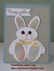 Easter card from Smiles, Laura ... chubby sitting punch art bunny with patterned paper pads and ears ...Stampin' Up! ...