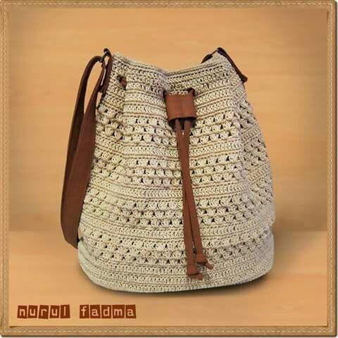 Crochet drawstring bag by nurul fadma