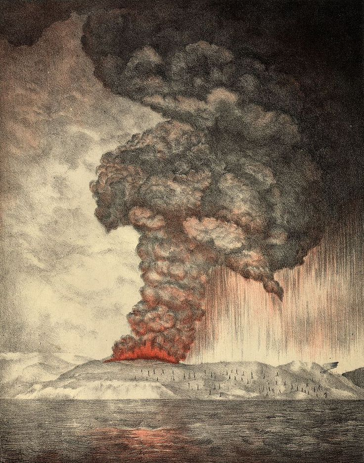 The eruption of Krakatoa in August 1883 was one of the most deadly volcanic eruptions of modern history. It is estimated that more than 36,000 people died. Many died as a result of thermal injury from the blasts and many more were victims of the tsunamis that followed the collapse of the volcano into the caldera below sea level.  The island of Krakatau (Krakatoa) is in the Sunda Strait between Java and Sumatra. It is part of the Indonesian Island Arc.