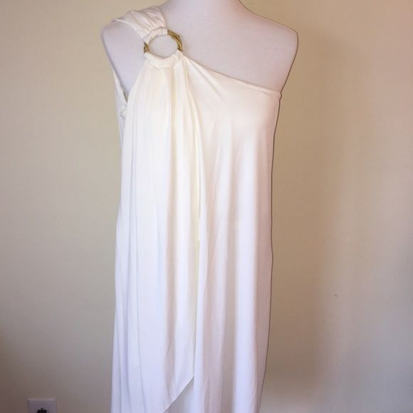 White 1-shoulder dress NWT Beautiful Grecian white one-shoulder dress, soft silky and float material is very flattering. Brand new with tags! Dresses One Shoulder