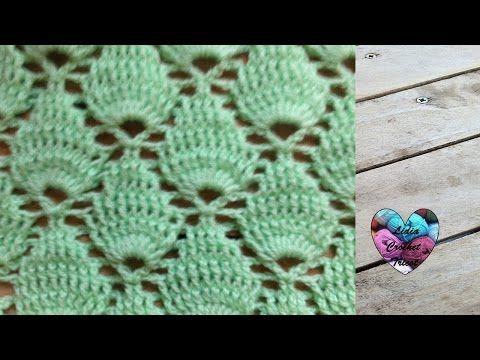 Crochet : Point feuille en relief / Crochet punto fantasia - YouTube