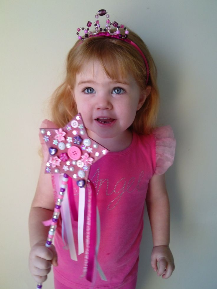Tiara and fairy wand designed by Bubblegum Treehouse on Facebook. Indiana loving her new pretties