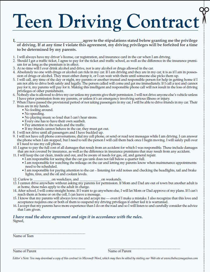 Parent Teen Contract >> Teen Driving Contract   gotta do this   Driving teen, Kids