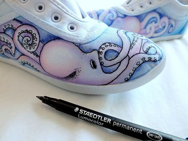 ...Make It With Me: DIY for Octopus Canvas Watercolour Shoes with STAEDTLER