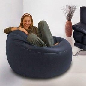 Real Leather Chair Bean Bag - Blue