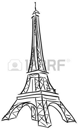 Ilustraci n vectorial de la Torre Eiffel Blanco y negro dibujo  Foto de archivo