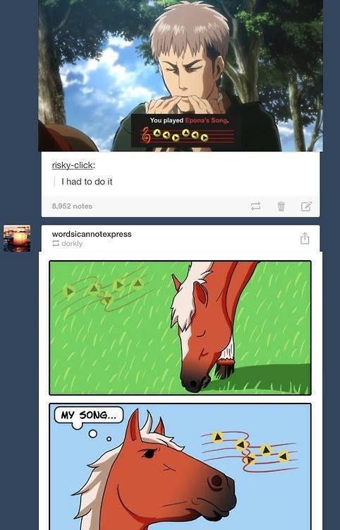 My two favorite things  Shingeki no kyojin and The Legend of Zelda:)