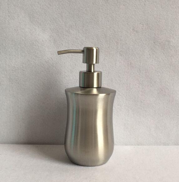 Novelty taper shaped stainless steel hand liquid soap dispenser 300ml lotion dispenser for kitchen bathroom