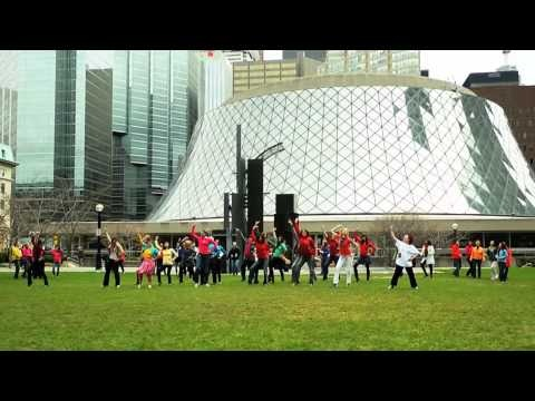 Canada's National Ballet School's community members celebrate International Dance Day, April 29, 2011 at Toronto's David Pecaut Square. Choreography by Matjash Mrozewski (a graduate of NBS) to Joel Plaskett's 'Penny For Your Thoughts'.