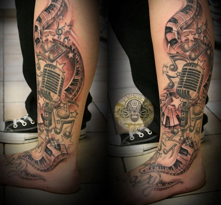 Music Note Star Tattoo Design