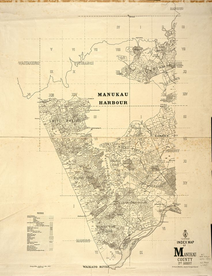 1902. A map of the western half of Manukau County, showing allotments and parish, survey and county boundaries, from the Manukau Harbour to the Waikato River. Sir George Grey Special Collections, Auckland Libraries, NZ Map 4790.