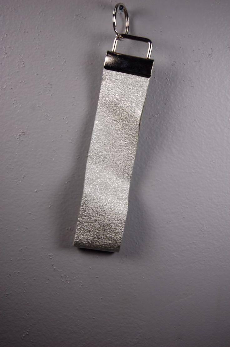 Silver Leather Wristlet Keychain by BerkeandBradyJo on Etsy