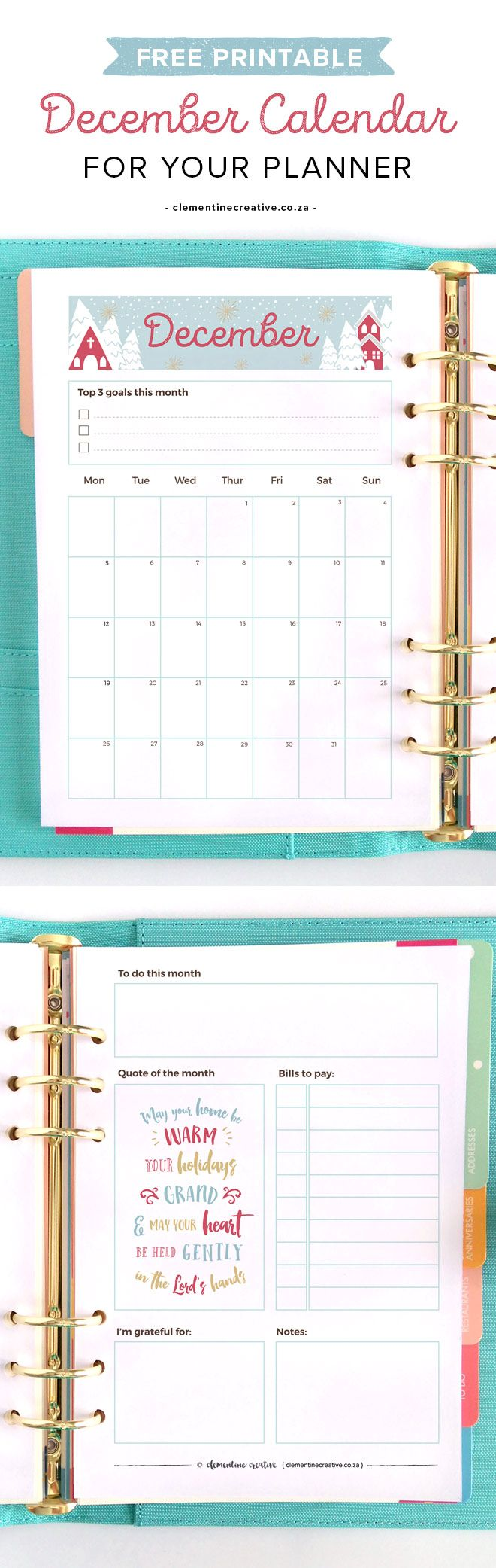 Get a new free printable monthly planner every month to insert in your kikki.K, Filofax or larger binder. Get December's calendar/planner here.