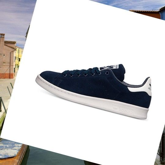 Sports Training Shoes Mens Adidas Stan Smith White/Navy Blue HOT SALE! HOT  PRICE