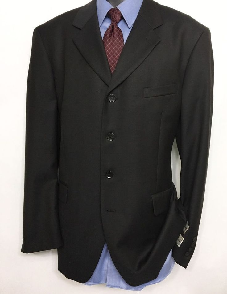 DONATELLO Mens Gray Suit Jacket 42R | 100% Wool Super 120's 4 Button Sport Coat #Donatello #FourButton