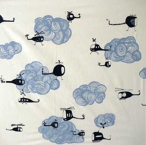 have to have this for my little boy's room! #helicopters #clouds #fabric