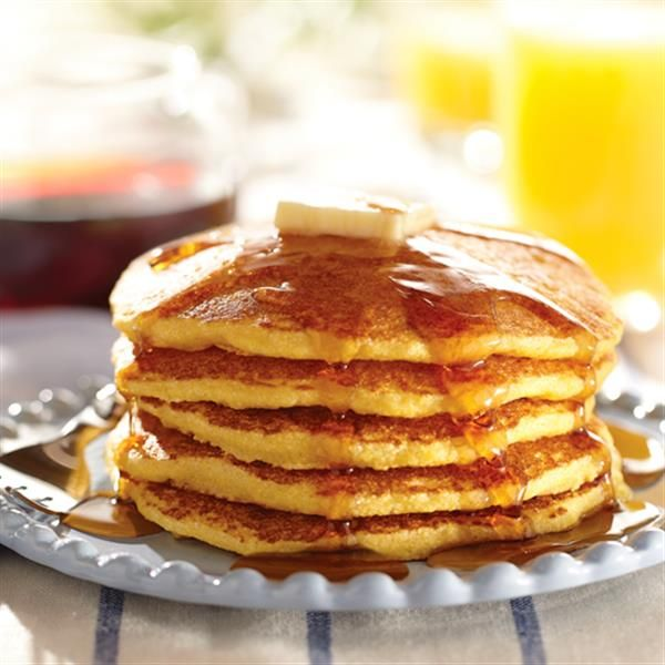 Country Cornmeal Pancakes from White Lily are made with 5 simple ingredients. Start your morning with a short stack!