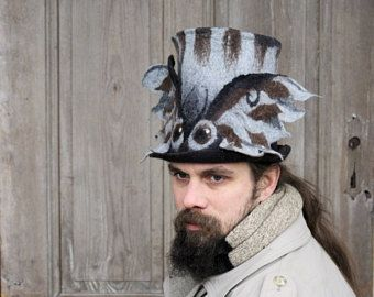 Fabulous winged top hat, felted mens hat with wings, wizard shaman hat, magical high hat, owl moth wings, Mad Hutter hat, wearable art, OOAK