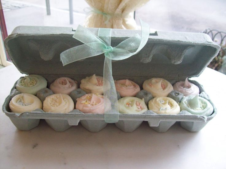 Mini Cupcakes in an egg carton. Perfect for thank you/hostess gifts/spring gifts