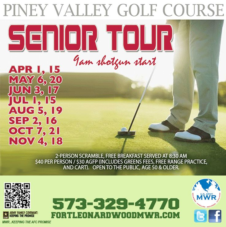 SENIOR GOLF TOUR ~  Piney Valley Golf Course is hosting the Senior Tour with a 9:00 am shot gun start. Cost is $30 for Annual Green Fees Patron (AGFP) members and $40 per non-AGFP; includes green fee, cart, range practice and breakfast. Tour is open to the public ages 50 yrs. and older. Register at the Piney Valley Golf Course located at 10221 Water Intake Rd. 573-329-4770. Tour Dates:  Aproil 1 & 15 / May 6 & 20 / June 3 & 17 / July 1 & 15 / Aug 5 & 19 /  Sep 2 & 16 / Oct 7 & 21 / Nov 4…