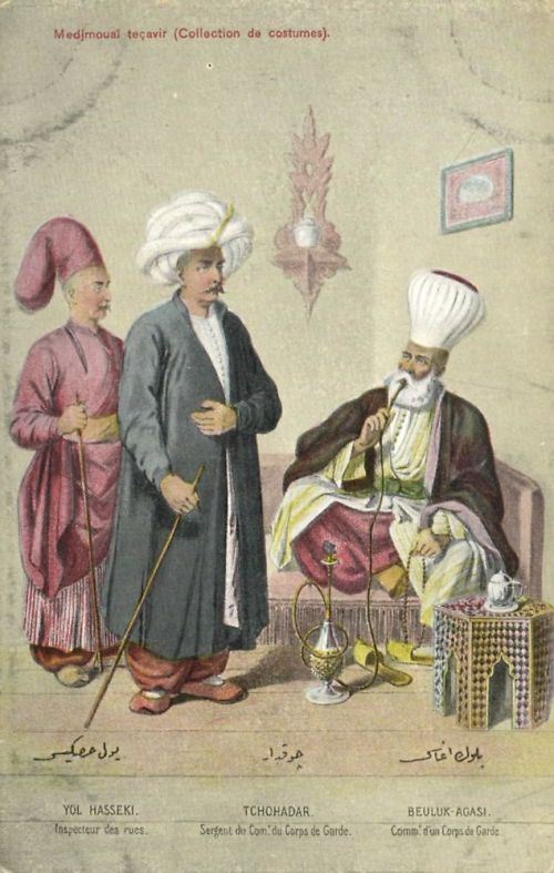 "Ottoman Turkey, Costumes, Medjmouaï Teçavir (1910s) Fruchtermann No. 105. Max Fruchtermann, 1852-1918. The most prominent early publisher of Ottoman postcards, at the age of seventeen he opened a frame-shop at Yüksekkaldirim Istanbul. It is hard to underestimate his role in the publishing scene that followed. He was one of the first ""editeurs"" (if not the very first) to create postcards depicting the Ottoman Empire."