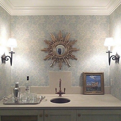 Turn a closet into a bar! This is what my friend did. The antique sunburst mirror is from my shop toneontoneantiques