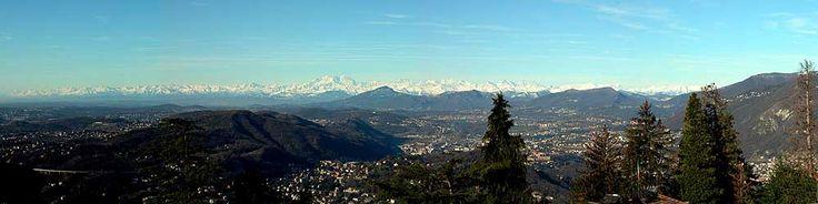 Brunate. Panorama dal Ristorante Bellavista. Sullo fondo le Alpi ed il massiccio del monte Rosa.   <3