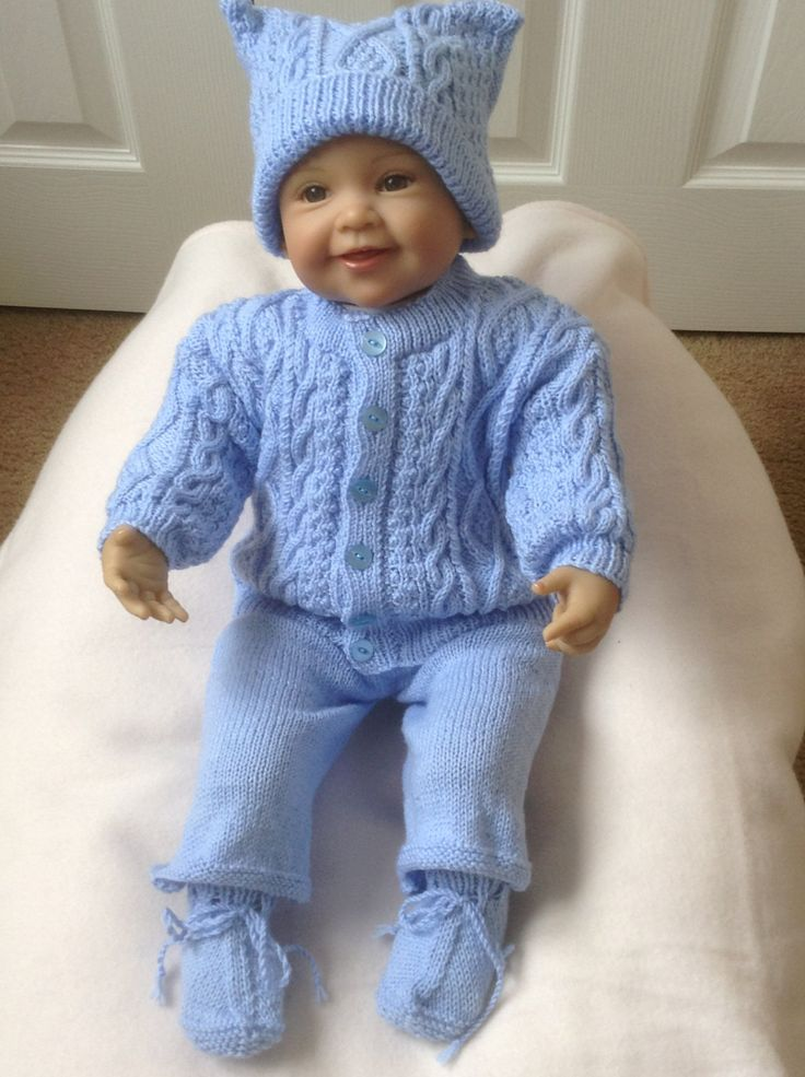 Baby Irish Knit Sweater Set, To fit 3-6 Month or a larger 26 inch Reborn Baby Doll Ready to Ship Now by Meganknits4charity on Etsy