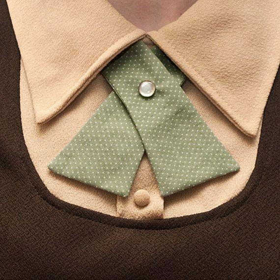 Womens Neck Tie - Seafoam Green with Tiny White Polka Dots. $18.00, via Etsy.