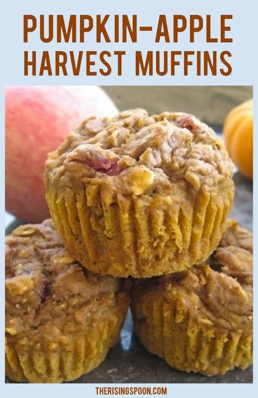 Super Moist Pumpkin-Apple Harvest Muffins. They're basically Fall in a Muffin! (includes a vegan friendly adaptation)