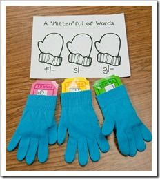 I bought several pairs of gloves & mittens from Target.  I took three and stuffed each with different letter tiles and a word building mat.  Each little mat was programmed with a different blend.  The kids had to remove the tiles from the gloves and create words and then record them on the corresponding recording sheet.