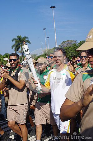 Rodrigo Pessoa carries the last lap of the street torch relay on Avenida Infante dom Henrique in Rio de Janeiro. Later on the Olympic flame is taken to Maracana Stadium for the reopening ceremonies of the Summer Olympics.  Picture taken Aug 5, 2016