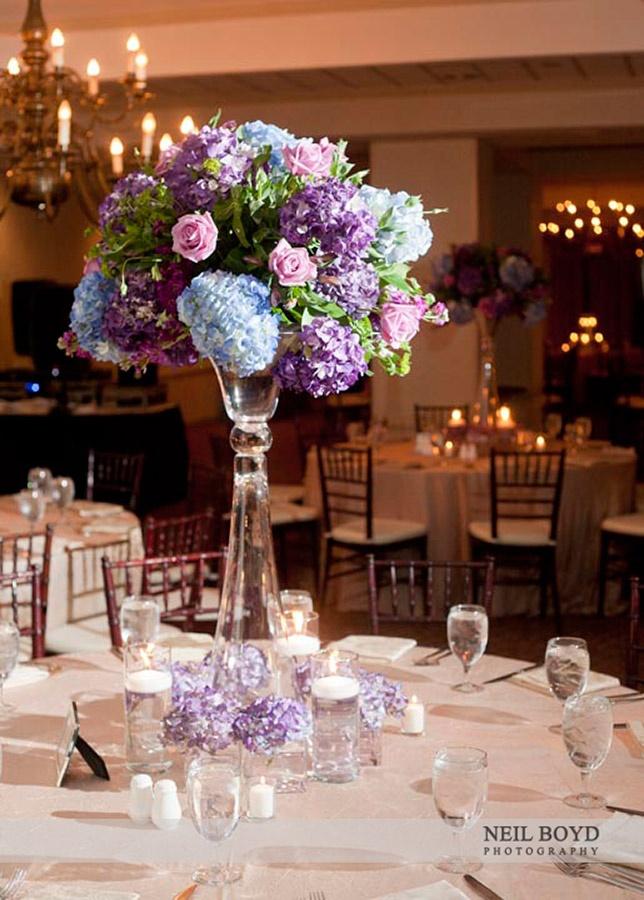 118 best wedding centerpieces images on pinterest weddings blue purple hydrangeas with pink roses in tall wedding reception centerpieces junglespirit Gallery
