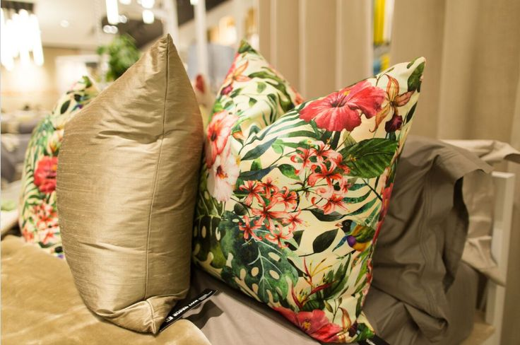Tropical and floral patterned scatter, with a hint of gold can add a sophisticated yet fun look to your home. #LoadsofLiving #interior #interiordesign #lounge