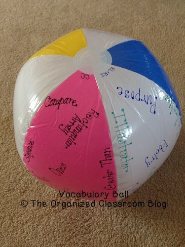 Having A Ball With Vocabulary - DIY Style - The Organized Classroom Blog  http://www.theorganizedclassroomblog.com/index.php/blog/having-a-ball-with-vocabulary-diy-style