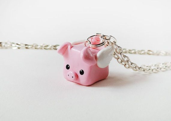 Pink Flying Pig Polymer Clay Charm Necklace by cbexpress on Etsy