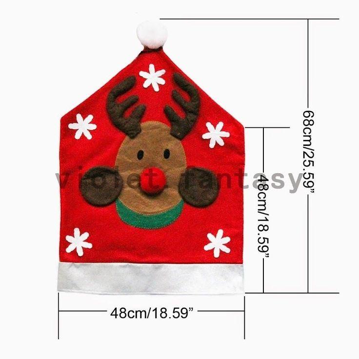 Santa Navidad Decoración del Hogar Silla Cubierta Muñeco De Nieve Santa Reno patrón cubierta de la silla