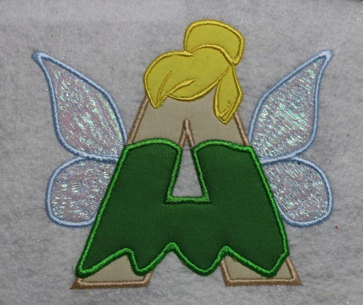 Tinker Bell Disney Alphabet applique designMonogram
