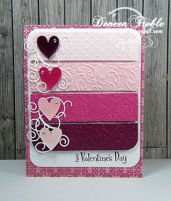 """Sweet Pink """"Valentine's Day"""" Card...with embossed card stock using different folders.  By Deneen: A Path of Paper."""
