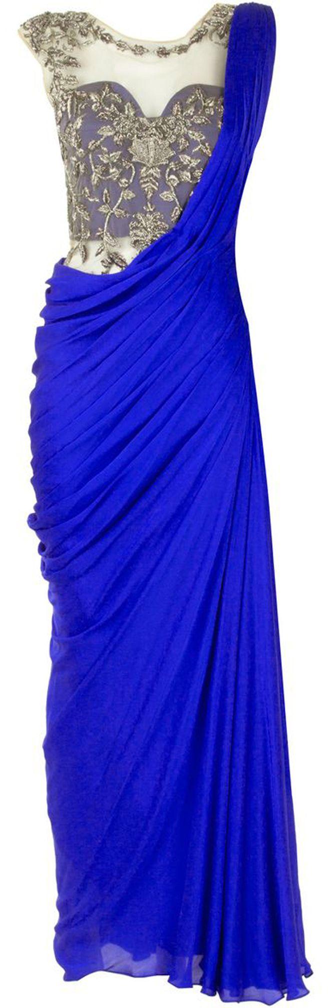 SONAAKSHI RAAJ Royal blue embroidered sari gown